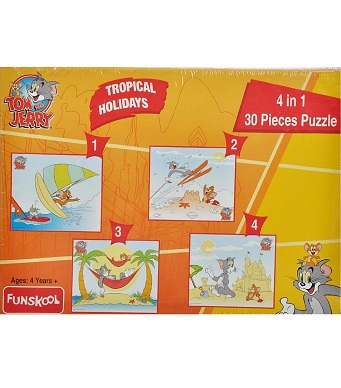 Funskool Tom and Jerry 4-in-1 Puzzle (Tropical Friends/ Holiday)