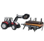 Bruder 2088 Steyr CVT with Frontloader and Timber Trailor